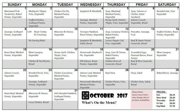 October Menu 2017