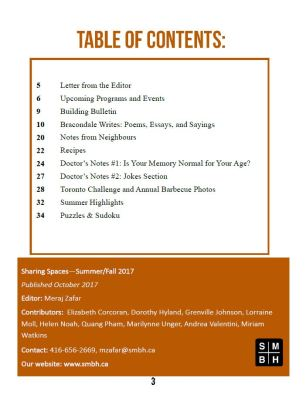 SMBH Newsletter Summer Fall 2017 TOC