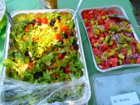 A close-up of Kenta and Aurora's delicious-looking salads...